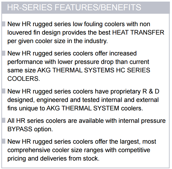 Hydraulic Oil Cooler Features